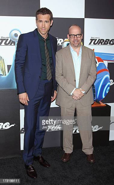 Actors Ryan Reynolds and Paul Giamatti attend the 'Turbo' New York Premiere at AMC Loews Lincoln Square on July 9 2013 in New York City