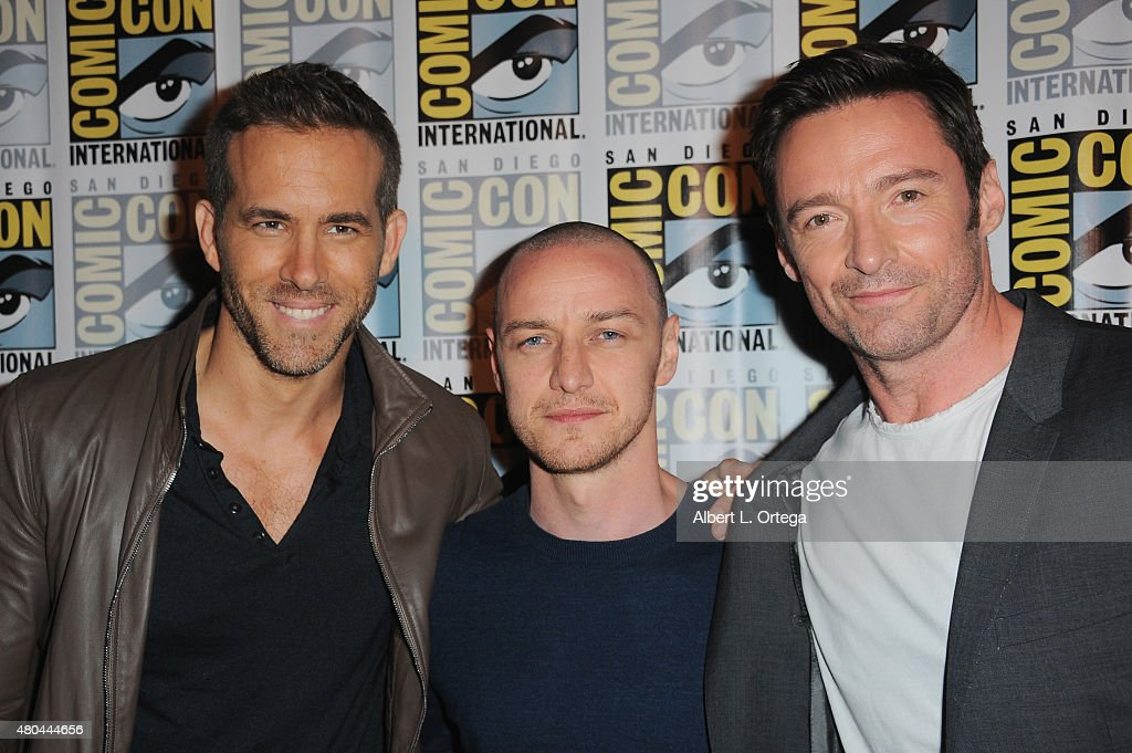 Actors Ryan Reynolds, James McAvoy and Hugh Jackman attend the 20th Century FOX panel during Comic-Con International 2015 at the San Diego Convention Center on July 11, 2015 in San Diego, California.