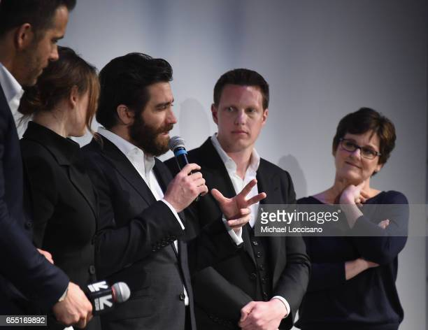 Actors Ryan Reynolds Rebecca Ferguson and Jake Gyllenhaal and producers David Ellison and Bonnie Curtis attend the 'Life' premiere during 2017 SXSW...