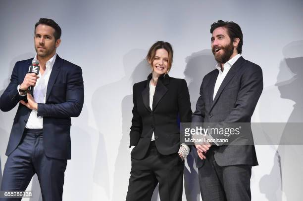 Actors Ryan Reynolds Rebecca Ferguson and Jake Gyllenhaal attend the 'Life' premiere during 2017 SXSW Conference and Festivals at the ZACH Theatre on...