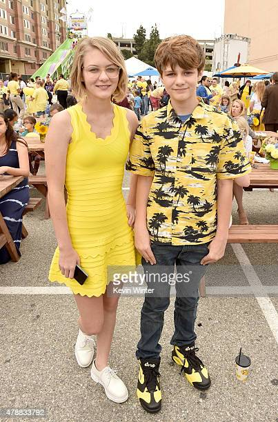 Actors Ryan Simpkins and Ty Simpkins pose at the after party for the premiere of Universal Pictures and Illumination Entertainment's 'Minions' at the...