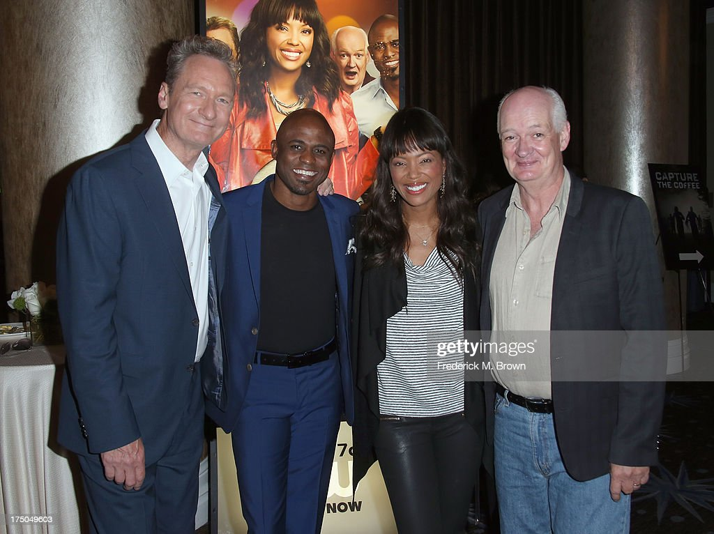 Actors <a gi-track='captionPersonalityLinkClicked' href=/galleries/search?phrase=Ryan+Stiles&family=editorial&specificpeople=3041145 ng-click='$event.stopPropagation()'>Ryan Stiles</a>, <a gi-track='captionPersonalityLinkClicked' href=/galleries/search?phrase=Wayne+Brady+-+Actor&family=editorial&specificpeople=217495 ng-click='$event.stopPropagation()'>Wayne Brady</a>, <a gi-track='captionPersonalityLinkClicked' href=/galleries/search?phrase=Aisha+Tyler&family=editorial&specificpeople=202262 ng-click='$event.stopPropagation()'>Aisha Tyler</a> and Colin Mochrie attend the 'Whose Line Is It Anyway?' breakfast buffet at the CBS, Showtime and The CW portion of the 2013 Summer Television Critics Association tour at the Beverly Hilton Hotel on July 30, 2013 in Beverly Hills, California.