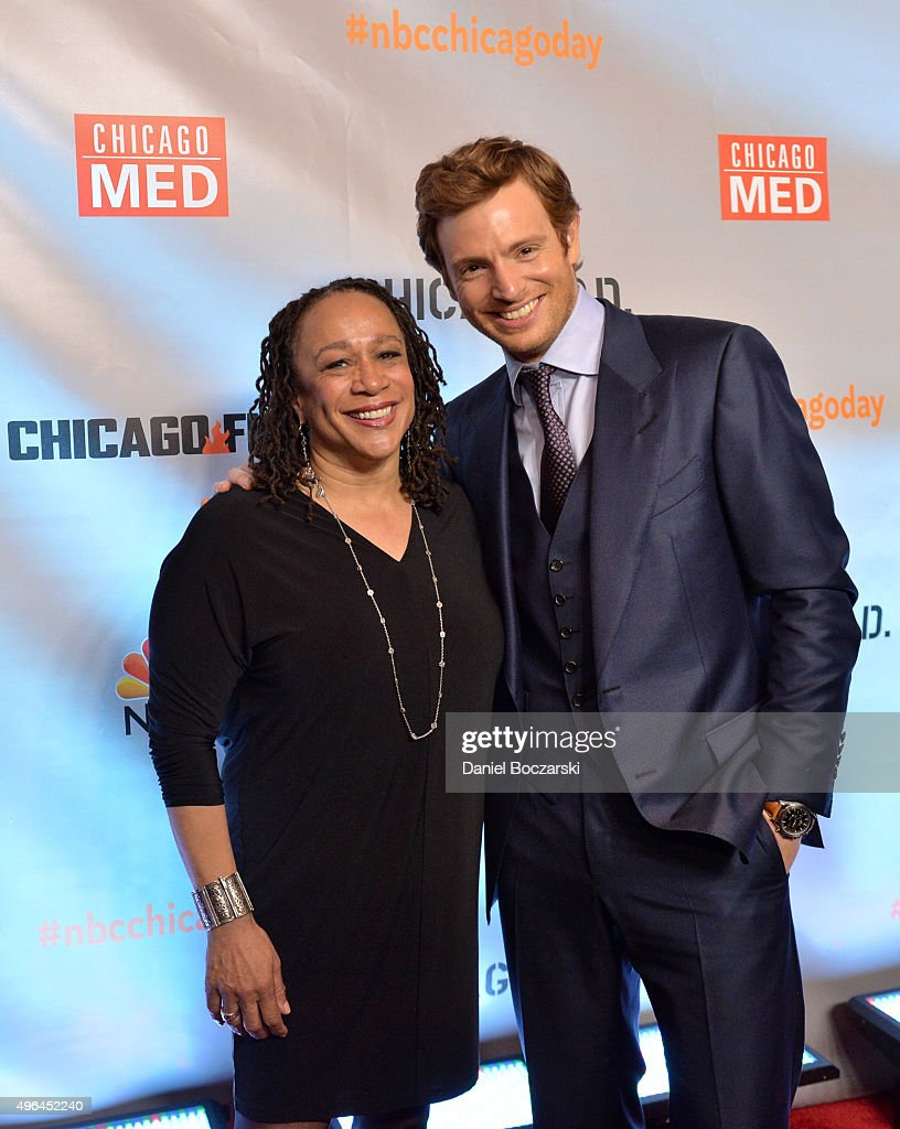 Actors S Epatha Merkerson and Nick Gehlfuss attend a premiere party for NBC's 'Chicago Fire' 'Chicago PD' and 'Chicago Med' at STK Chicago on...