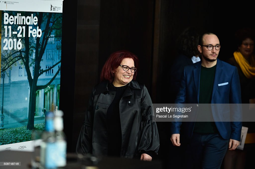 Actors Sabah Bouzouita (L) and Majd Mastoura attend the 'Inhebbek Hedi' press conference during the 66th Berlinale International Film Festival Berlin at Grand Hyatt Hotel on February 12, 2016 in Berlin, Germany.