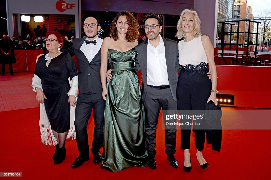 Actors Sabah Bouzouita, Majjd Mastoura, Rym Ben Messaoud, director Mohamed Ben Attia and producer Dora Bouchoucha Fourati attend the 'Inhebbek Hedi' premiere during the 66th Berlinale International Film Festival Berlin at Berlinale Palace on February 12, 2016 in Berlin, Germany.