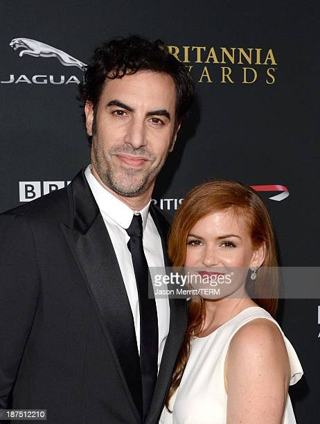 Actors Sacha Baron Cohen and Isla Fisher attend the 2013 BAFTA LA Jaguar Britannia Awards presented by BBC America at The Beverly Hilton Hotel on...