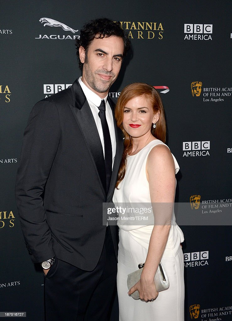 Actors <a gi-track='captionPersonalityLinkClicked' href=/galleries/search?phrase=Sacha+Baron+Cohen&family=editorial&specificpeople=216389 ng-click='$event.stopPropagation()'>Sacha Baron Cohen</a> (L) and <a gi-track='captionPersonalityLinkClicked' href=/galleries/search?phrase=Isla+Fisher&family=editorial&specificpeople=220257 ng-click='$event.stopPropagation()'>Isla Fisher</a> attend the 2013 BAFTA LA Jaguar Britannia Awards presented by BBC America at The Beverly Hilton Hotel on November 9, 2013 in Beverly Hills, California.