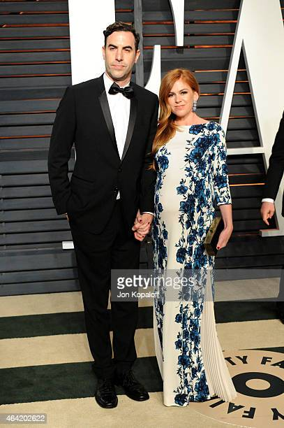 Actors Sacha Baron Cohen and Isla Fisher attend the 2015 Vanity Fair Oscar Party hosted by Graydon Carter at Wallis Annenberg Center for the...