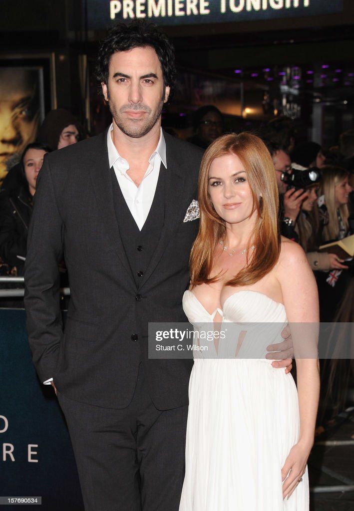 Actors Sacha Baron Cohen and Isla Fisher attends the 'Les Miserables' World Premiere at the Odeon Leicester Square on December 5, 2012 in London, England.