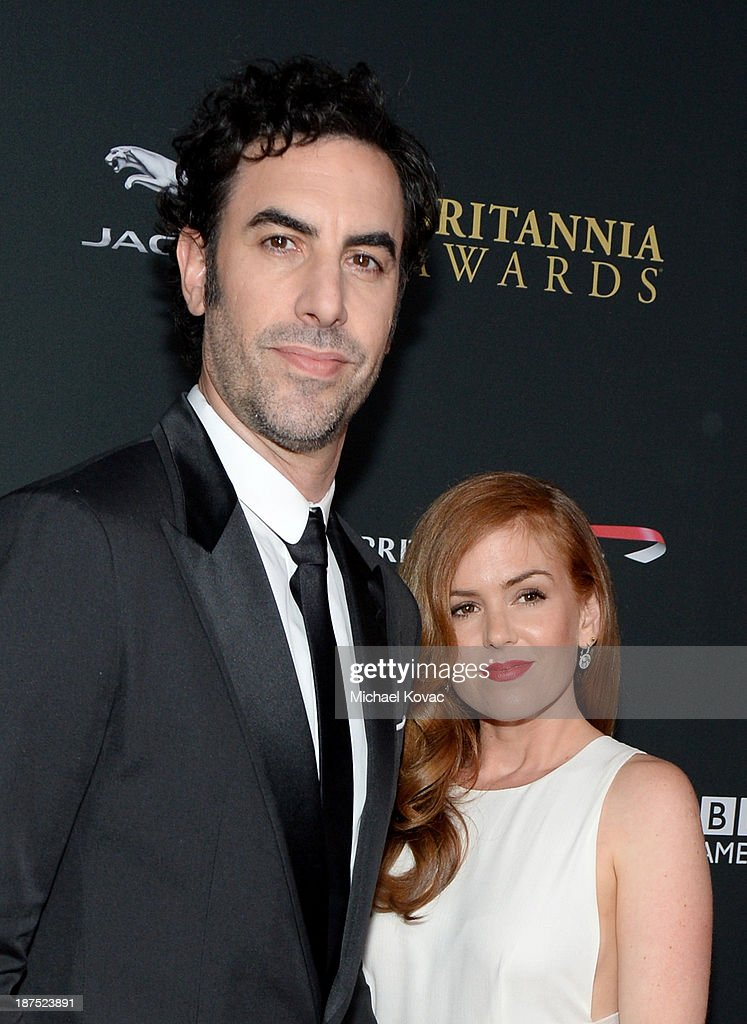 Actors <a gi-track='captionPersonalityLinkClicked' href=/galleries/search?phrase=Sacha+Baron+Cohen&family=editorial&specificpeople=216389 ng-click='$event.stopPropagation()'>Sacha Baron Cohen</a> and <a gi-track='captionPersonalityLinkClicked' href=/galleries/search?phrase=Isla+Fisher&family=editorial&specificpeople=220257 ng-click='$event.stopPropagation()'>Isla Fisher</a> with Stylebop.com attend the 2013 BAFTA LA Jaguar Britannia Awards presented by BBC America at The Beverly Hilton Hotel on November 9, 2013 in Beverly Hills, California.