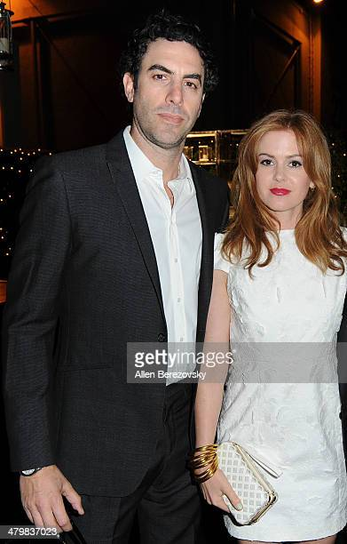 Actors Sacha Baron Cohen and wife Isla Fisher attend the 2nd Annual Rebel With A Cause Gala cocktail reception at Paramount Studios on March 20 2014...