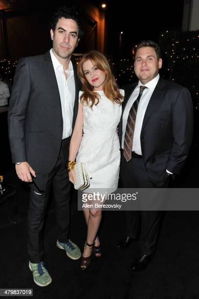 Actors Sacha Baron Cohen Isla Fisher and Jonah Hill attend the 2nd Annual Rebel With A Cause Gala cocktail reception at Paramount Studios on March 20...