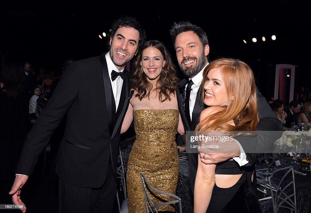 Actors Sacha Baron Cohen, Jennifer Garner, Ben Affleck, and Isla Fisher attend the 19th Annual Screen Actors Guild Awards at The Shrine Auditorium on January 27, 2013 in Los Angeles, California. (Photo by Larry Busacca/WireImage) 23116_018_2254.JPG