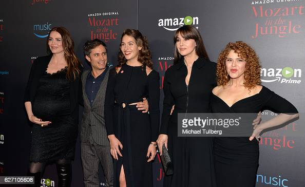 Actors Saffron Burrows Gael Garcia Bernal Lola Kirke Monica Bellucci and Bernadette Peters attend a screening event for Amazon's 'Mozart In The...
