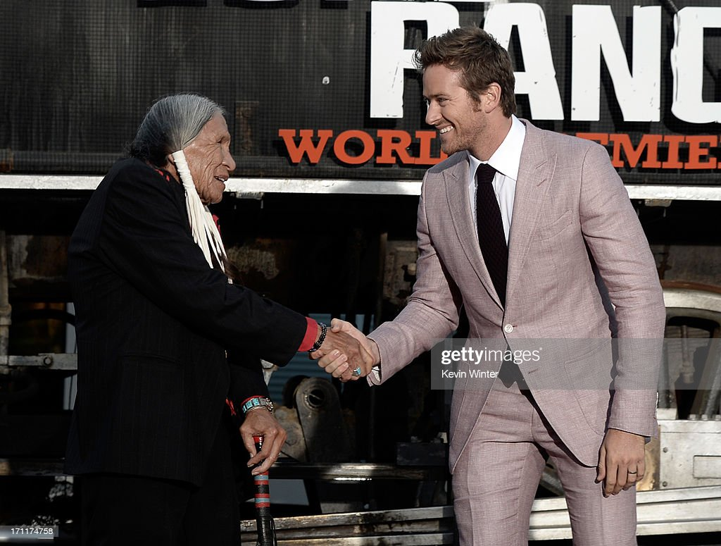 Actors <a gi-track='captionPersonalityLinkClicked' href=/galleries/search?phrase=Saginaw+Grant+-+Actor&family=editorial&specificpeople=2111009 ng-click='$event.stopPropagation()'>Saginaw Grant</a> (L) and <a gi-track='captionPersonalityLinkClicked' href=/galleries/search?phrase=Armie+Hammer&family=editorial&specificpeople=5313113 ng-click='$event.stopPropagation()'>Armie Hammer</a> arrive at the premiere of Walt Disney Pictures' 'The Lone Ranger' at Disney California Adventure Park on June 22, 2013 in Anaheim, California.