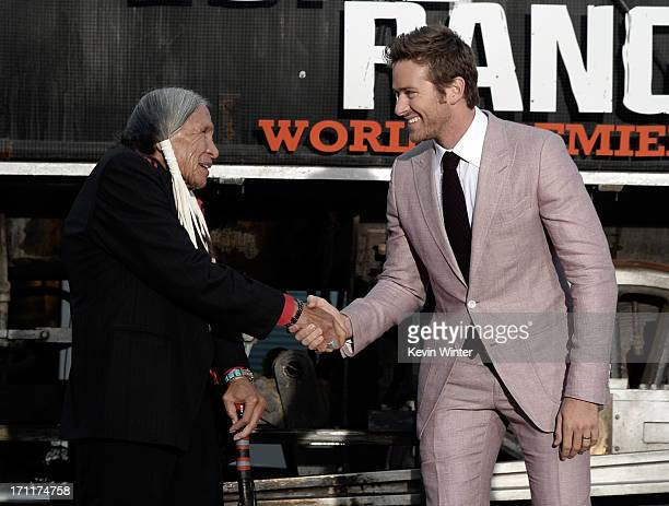 Actors Saginaw Grant and Armie Hammer arrive at the premiere of Walt Disney Pictures' 'The Lone Ranger' at Disney California Adventure Park on June...