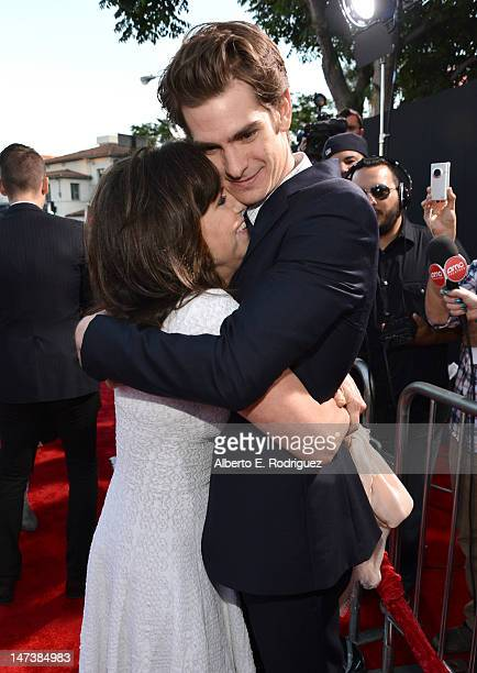 Actors Sally Field and Andrew Garfield arrive at the premiere of Columbia Pictures' 'The Amazing SpiderMan' at the Regency Village Theatre on June 28...