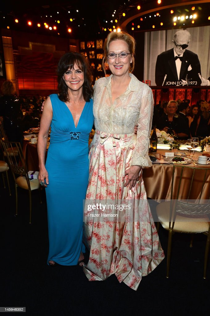 Actors <a gi-track='captionPersonalityLinkClicked' href=/galleries/search?phrase=Sally+Field&family=editorial&specificpeople=206350 ng-click='$event.stopPropagation()'>Sally Field</a> and <a gi-track='captionPersonalityLinkClicked' href=/galleries/search?phrase=Meryl+Streep&family=editorial&specificpeople=171097 ng-click='$event.stopPropagation()'>Meryl Streep</a> attend the 40th AFI Life Achievement Award honoring Shirley MacLaine held at Sony Pictures Studios on June 7, 2012 in Culver City, California. The AFI Life Achievement Award tribute to Shirley MacLaine will premiere on TV Land on Saturday, June 24 at 9PM