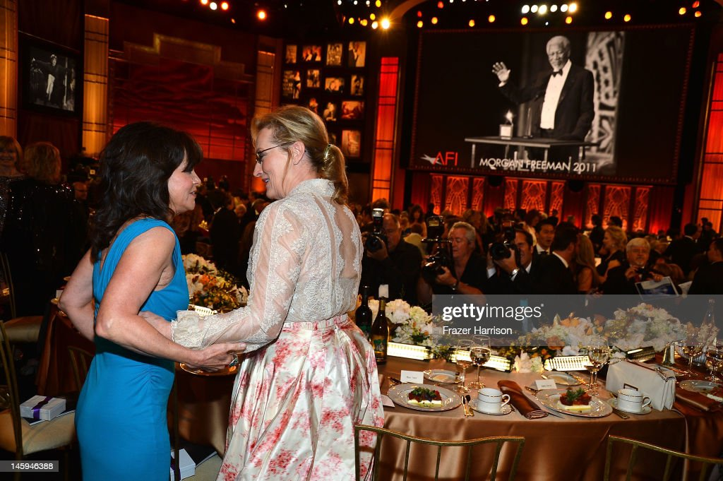 Actors Sally Field and Meryl Streep attend the 40th AFI Life Achievement Award honoring Shirley MacLaine held at Sony Pictures Studios on June 7, 2012 in Culver City, California. The AFI Life Achievement Award tribute to Shirley MacLaine will premiere on TV Land on Saturday, June 24 at 9PM