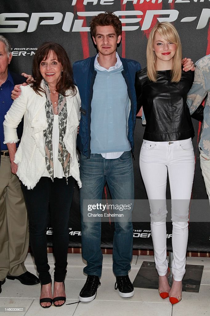 Actors Sally Field, Andrew Garfield and Emma Stone attend the 'The Amazing Spider-Man' New York City Photo Call at Crosby Street Hotel on June 9, 2012 in New York City.