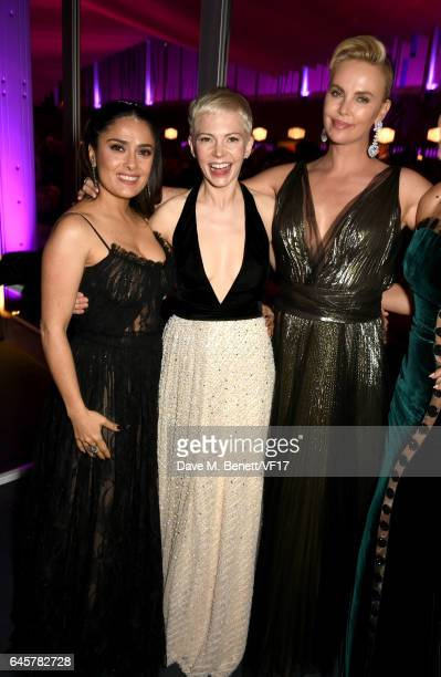 Actors Salma Hayek Michelle Williams and Charlize Theron attend the 2017 Vanity Fair Oscar Party hosted by Graydon Carter at Wallis Annenberg Center...