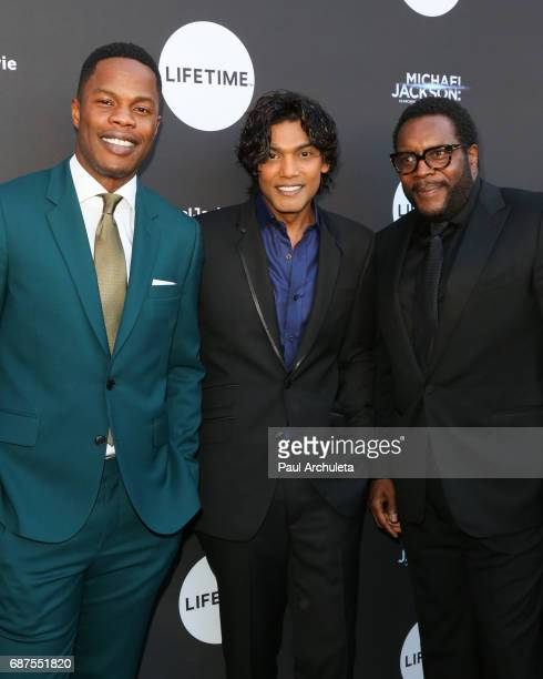 Actors Sam Adegoke Navi and Chad L Coleman attend the fan gala and advance screening for 'Michael Jackson Searching For Neverland' at Avalon on May...