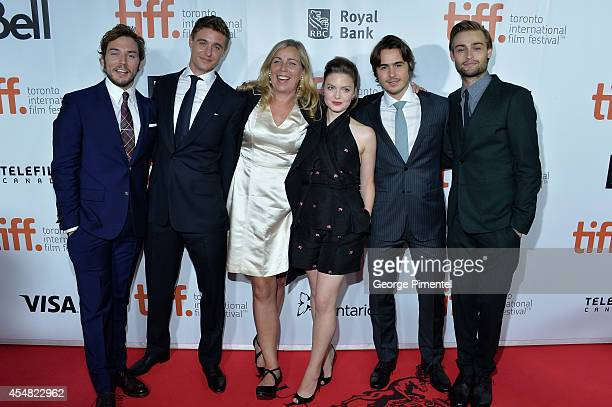 Actors Sam Claflin Max Irons Director Lone Scherfig Actors Holliday Grainger Ben Schnetzer and Douglas Booth attend 'The Riot Club' premiere during...