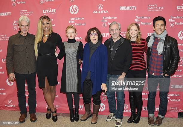 Actors Sam Elliott Laverne Cox Julia Garner and Lily Tomlin director Paul Weitz and actors Judy Greer and John Cho attend the 'Grandma' premiere...