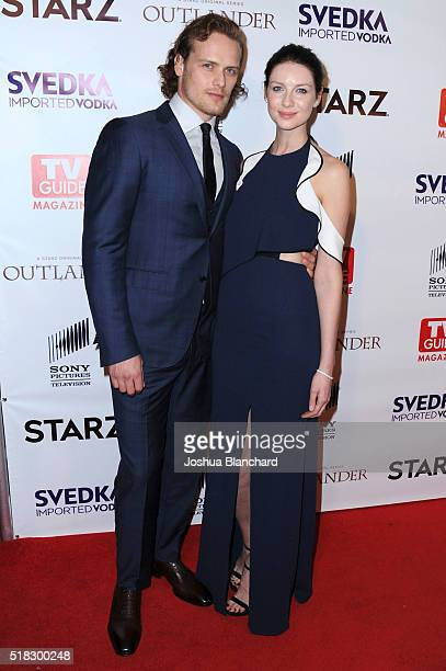Actors Sam Heughan and Caitriona Balfe arrive at TV Guide Magazine celebrates STARZ's 'Outlander' at Palihouse on March 30 2016 in West Hollywood...
