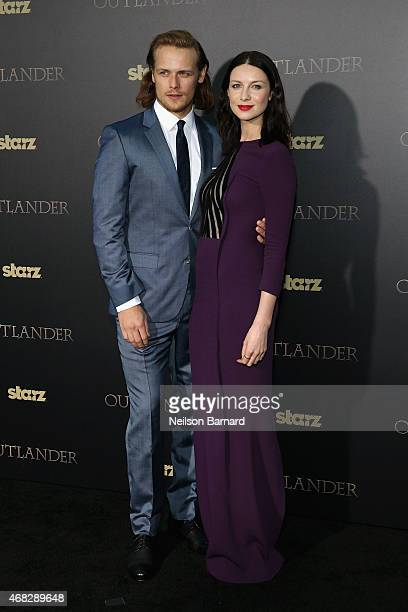Actors Sam Heughan and Caitriona Balfe attend the 'Outlander' midseason New York premiere at Ziegfeld Theater on April 1 2015 in New York City