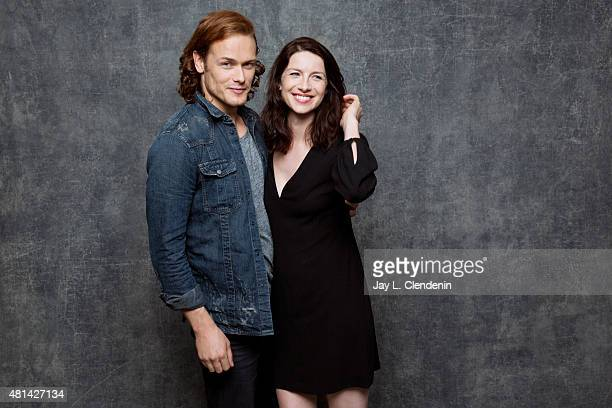 Actors Sam Heughan and Caitriona Balfe of ' Outlander' pose for a portrait at ComicCon International 2015 for Los Angeles Times on July 9 2015 in San...