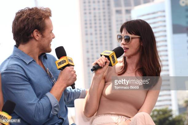 Actors Sam Heughan and Caitriona Balfe on the #IMDboat at San Diego ComicCon 2017 at The IMDb Yacht on July 21 2017 in San Diego California