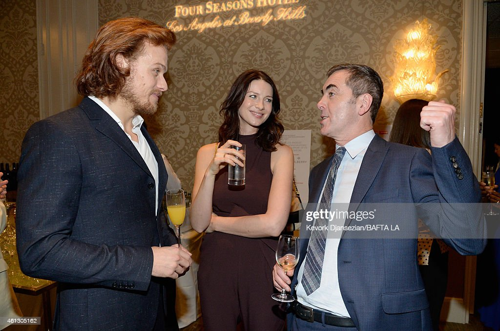 Actors sam heughan caitriona balfe and james nesbitt attend the