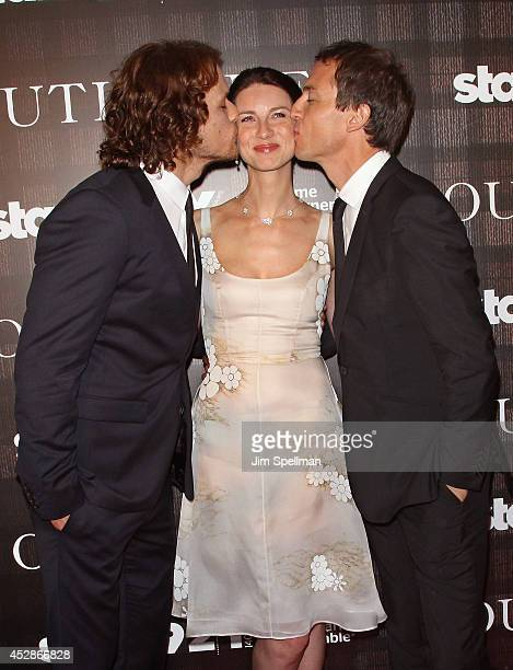 Actors Sam Heughan Caitriona Balfe and Tobias Menzies attend the 'Outlander' series screening at 92nd Street Y on July 28 2014 in New York City