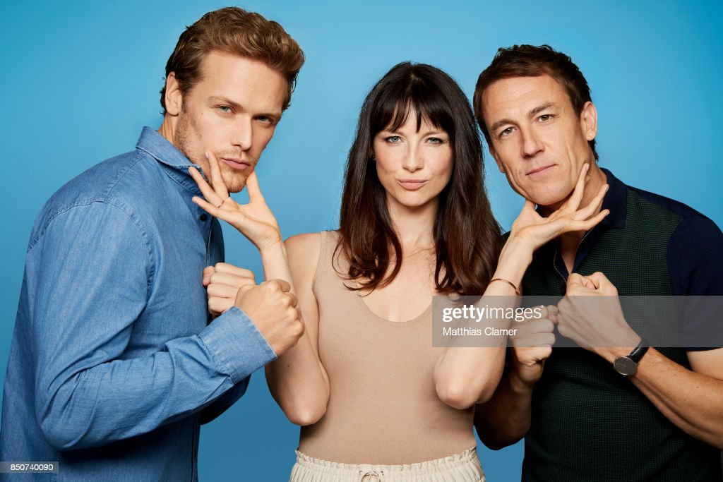 Actors Sam Heughan, Caitriona Balfe and Tobias Menzies from Outlander are photographed for Entertainment Weekly Magazine on July 21, 2017 at Comic Con in San Diego, California.