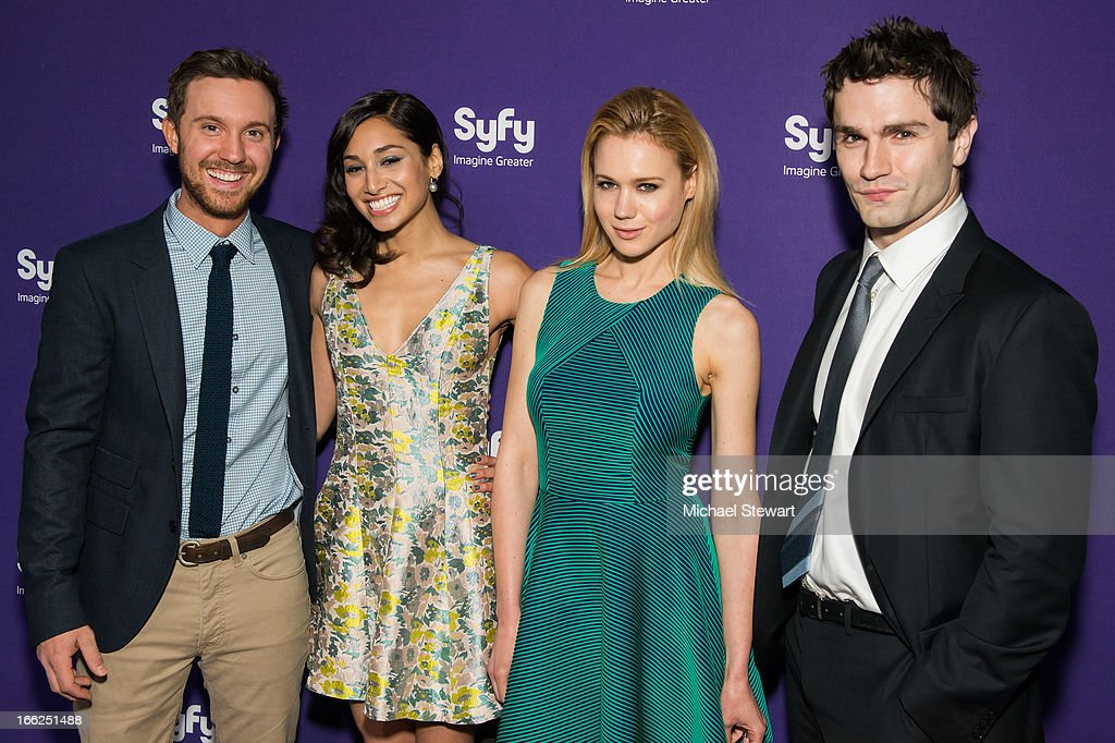 Actors <a gi-track='captionPersonalityLinkClicked' href=/galleries/search?phrase=Sam+Huntington&family=editorial&specificpeople=546776 ng-click='$event.stopPropagation()'>Sam Huntington</a>, <a gi-track='captionPersonalityLinkClicked' href=/galleries/search?phrase=Meaghan+Rath&family=editorial&specificpeople=7433544 ng-click='$event.stopPropagation()'>Meaghan Rath</a>, Kristen Hager and <a gi-track='captionPersonalityLinkClicked' href=/galleries/search?phrase=Sam+Witwer&family=editorial&specificpeople=4631209 ng-click='$event.stopPropagation()'>Sam Witwer</a> attend the 2013 Syfy Upfront at Silver Screen Studios at Chelsea Piers on April 10, 2013 in New York City.