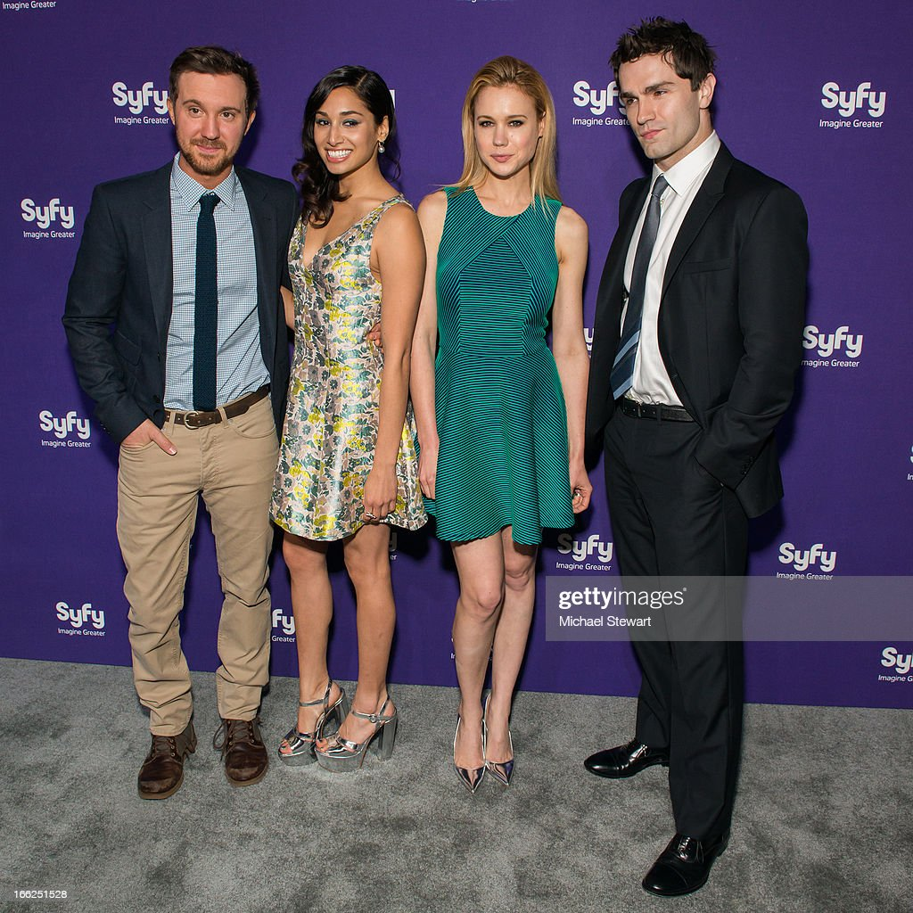 Actors Sam Huntington, Meaghan Rath, Kristen Hager and Sam Witwer attend the 2013 Syfy Upfront at Silver Screen Studios at Chelsea Piers on April 10, 2013 in New York City.