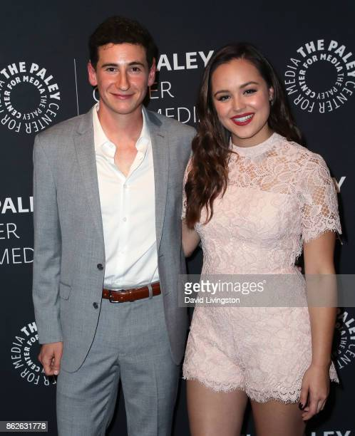 Actors Sam Lerner and Hayley Orrantia attend 'The Goldbergs' 100th episode celebration at The Paley Center for Media on October 17 2017 in Beverly...