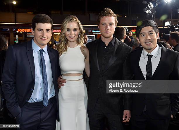 Actors Sam Lerner Virginia Gardner Jonny Weston and Allen Evangelista attend the premiere of Paramount Pictures' 'Project Almanac' at TCL Chinese...