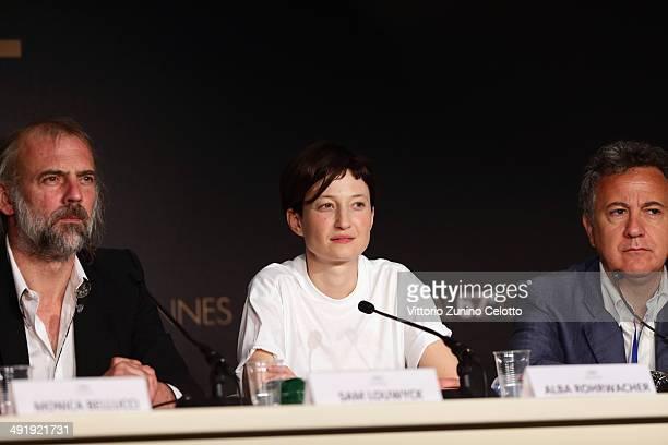 Actors Sam Louwyck Alba Rohrwacher and Paolo Del Brocco attend the 'La Meraviglie' press conference during the 67th Annual Cannes Film Festival on...