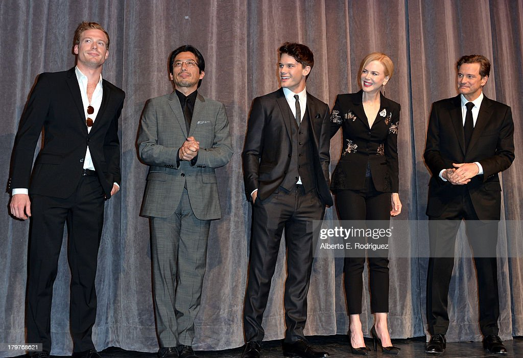 Actors Sam Reid, <a gi-track='captionPersonalityLinkClicked' href=/galleries/search?phrase=Hiroyuki+Sanada&family=editorial&specificpeople=209049 ng-click='$event.stopPropagation()'>Hiroyuki Sanada</a>, <a gi-track='captionPersonalityLinkClicked' href=/galleries/search?phrase=Jeremy+Irvine&family=editorial&specificpeople=7595423 ng-click='$event.stopPropagation()'>Jeremy Irvine</a>, <a gi-track='captionPersonalityLinkClicked' href=/galleries/search?phrase=Nicole+Kidman&family=editorial&specificpeople=156404 ng-click='$event.stopPropagation()'>Nicole Kidman</a> and <a gi-track='captionPersonalityLinkClicked' href=/galleries/search?phrase=Colin+Firth&family=editorial&specificpeople=201620 ng-click='$event.stopPropagation()'>Colin Firth</a> speak at 'The Railway Man' Premiere during the 2013 Toronto International Film Festival at Roy Thomson Hall on September 6, 2013 in Toronto, Canada.