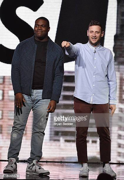 Actors Sam Richardson and Tim Robinson speak onstage during the Comedy Central Live 2016 upfront at Town Hall on March 31 2016 in New York City