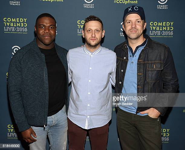 Actors Sam Richardson Tim Robinson and Jason Sudeikis attend the Comedy Central Live 2016 upfront afterparty at Gotham Hall on March 31 2016 in New...