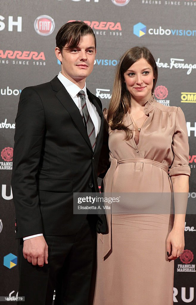 Actors Sam Riley and <a gi-track='captionPersonalityLinkClicked' href=/galleries/search?phrase=Alexandra+Maria+Lara&family=editorial&specificpeople=208220 ng-click='$event.stopPropagation()'>Alexandra Maria Lara</a> attend the 'Rush' premiere at Auditorium della Conciliazione on September 14, 2013 in Rome, Italy.