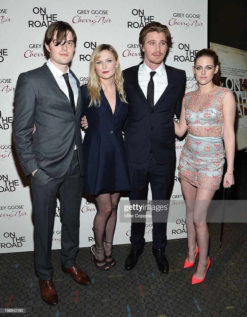 Actors Sam Riley, <a gi-track='captionPersonalityLinkClicked' href=/galleries/search?phrase=Kirsten+Dunst&family=editorial&specificpeople=171590 ng-click='$event.stopPropagation()'>Kirsten Dunst</a>, <a gi-track='captionPersonalityLinkClicked' href=/galleries/search?phrase=Garrett+Hedlund&family=editorial&specificpeople=2290407 ng-click='$event.stopPropagation()'>Garrett Hedlund</a>, and <a gi-track='captionPersonalityLinkClicked' href=/galleries/search?phrase=Kristen+Stewart&family=editorial&specificpeople=2166264 ng-click='$event.stopPropagation()'>Kristen Stewart</a> attend 'On The Road' New York Premiere at SVA Theater on December 13, 2012 in New York City.