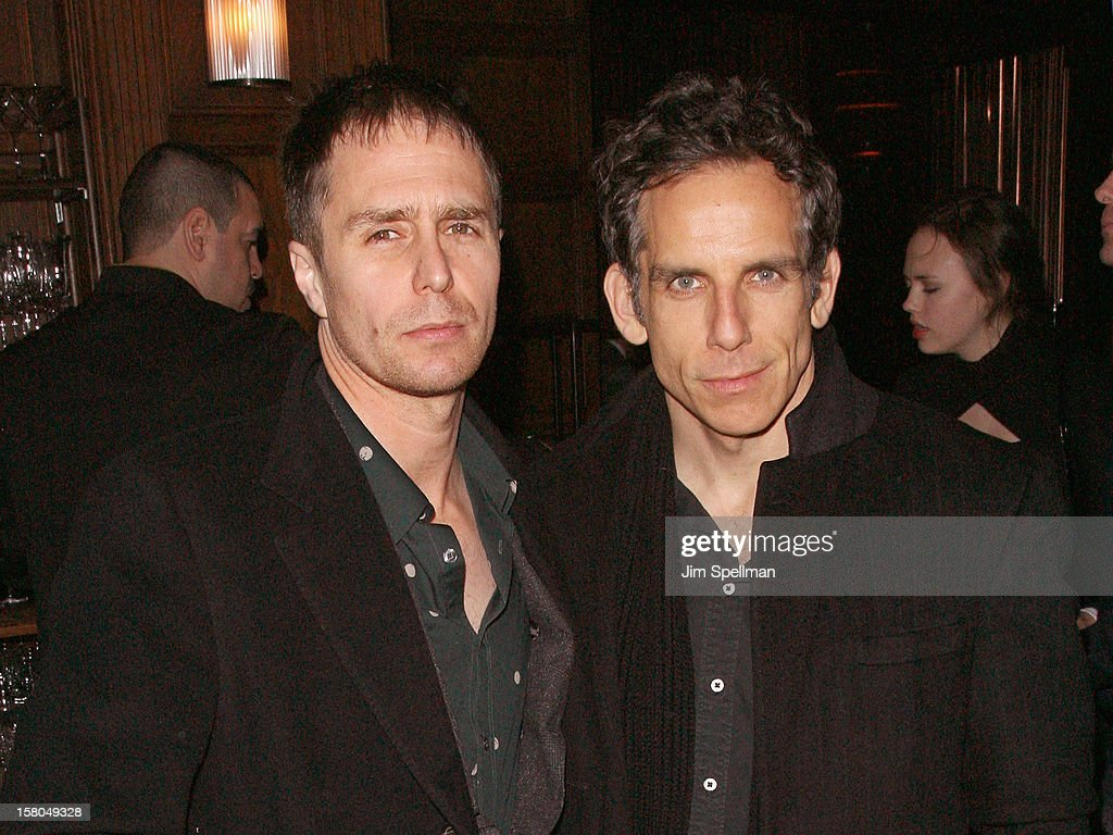 Actors <a gi-track='captionPersonalityLinkClicked' href=/galleries/search?phrase=Sam+Rockwell&family=editorial&specificpeople=213214 ng-click='$event.stopPropagation()'>Sam Rockwell</a> and <a gi-track='captionPersonalityLinkClicked' href=/galleries/search?phrase=Ben+Stiller&family=editorial&specificpeople=201806 ng-click='$event.stopPropagation()'>Ben Stiller</a> attend The Cinema Society With Chrysler & Bally Host The Premiere Of 'Stand Up Guys' After Party at The Plaza Hotel on December 9, 2012 in New York City.