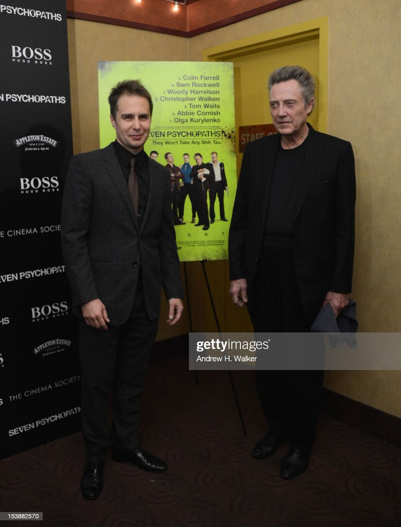Actors <a gi-track='captionPersonalityLinkClicked' href=/galleries/search?phrase=Sam+Rockwell&family=editorial&specificpeople=213214 ng-click='$event.stopPropagation()'>Sam Rockwell</a> and <a gi-track='captionPersonalityLinkClicked' href=/galleries/search?phrase=Christopher+Walken&family=editorial&specificpeople=209174 ng-click='$event.stopPropagation()'>Christopher Walken</a> attend The Cinema Society with Hugo Boss and Appleton Estate screening of 'Seven Psychopaths' at Clearview Chelsea Cinemas on October 10, 2012 in New York City.