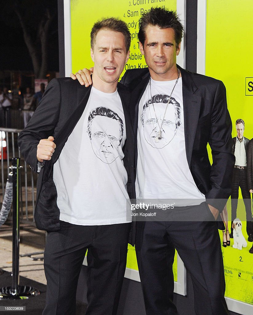 Actors <a gi-track='captionPersonalityLinkClicked' href=/galleries/search?phrase=Sam+Rockwell&family=editorial&specificpeople=213214 ng-click='$event.stopPropagation()'>Sam Rockwell</a> and <a gi-track='captionPersonalityLinkClicked' href=/galleries/search?phrase=Colin+Farrell&family=editorial&specificpeople=202154 ng-click='$event.stopPropagation()'>Colin Farrell</a> arrive at the Los Angeles Premiere 'Seven Psychopaths' at Mann Bruin Theatre on October 1, 2012 in Westwood, California.