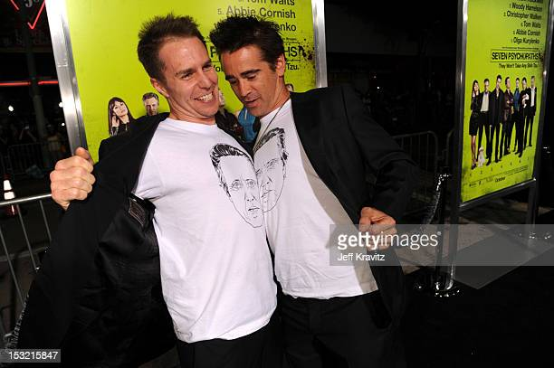 Actors Sam Rockwell and Colin Farrell arrive at the Los Angeles premiere of 'Seven Psychopaths' at Mann Bruin Theatre on October 1 2012 in Westwood...