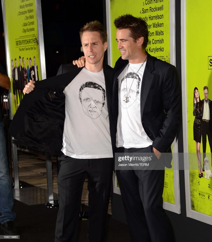 Actors Sam Rockwell (L) and Colin Farrell arrive at the premiere of CBS Films' 'Seven Psychopaths' at Mann Bruin Theatre on October 1, 2012 in Westwood, California.